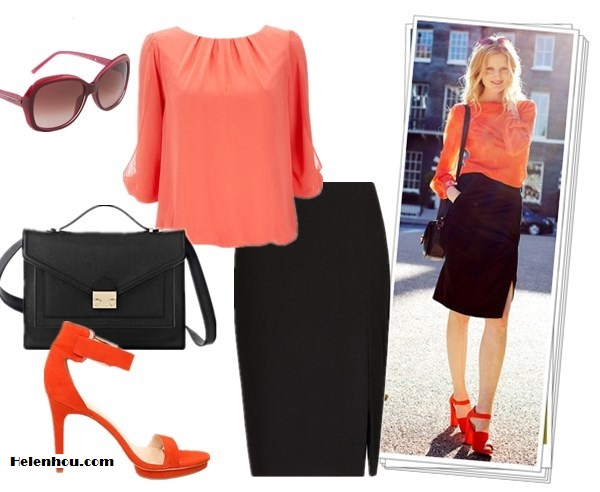 how to wear double side slit maxi skirt; how to wear bright orange; street style;  On Candice Lake: orange blouse, black pencil skirt with side splip, orange/red ankle stap sandal, black crossbody bag, red sunglasses Alternatives: Wallis Orange Petite Blouse,  Mango slip pencil skirt,  Calvin Klein Vivian orange ankle strap sandal,  Givenchy Butterfly Frame Sunglasses,  Loeffler Randall Rider Bag,