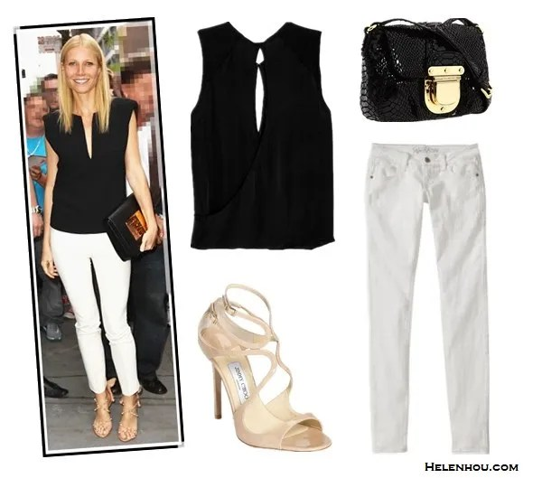 How to wear white pants/white jeans;  Alternative:  A.L.C. EXCLUSIVE Henrietta Overlap Sleeveless Blouse,  Gap Old Navy Women's The Rockstar Super Skinny Jeans ,  MICHAEL Michael Kors - Charlton Crossbody bag,  Jimmy Choo Lance Strappy Patent Leather Sandals,