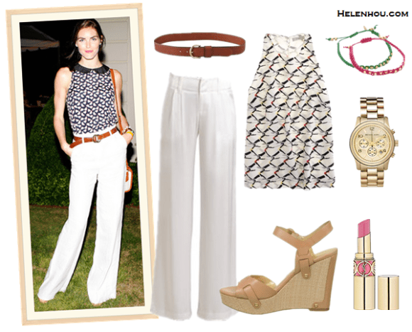 How to wear white pants;  Alternative:  Madewell Perfect Leather Belt,  Alice + Olivia white Eric Pants,   Ivanka Trump 'Hollyann' Wedge,  Michael Kors Sport gold Watch,  Shashi Sarah Yellow Nugget friendship Bracelet,  Yves Saint Laurent lipstick,