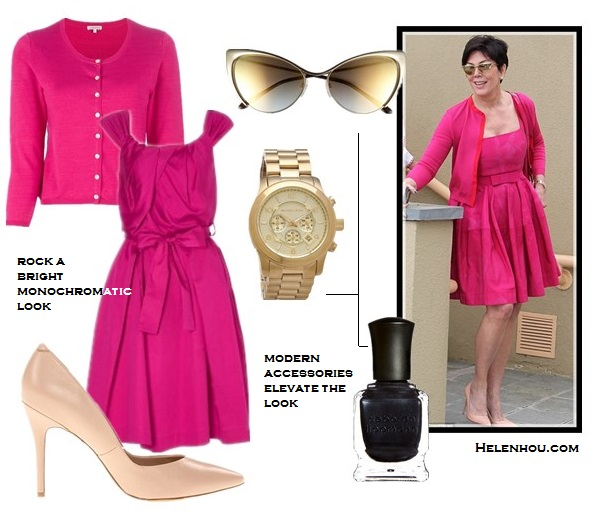 Kris Jenner, stylish in 50s, how to wear pink, shirt with dress, cocktail dress, how to wear one color head to toe,Tom Ford Natalia Bag,Yves Saint Laurent Clara 105 Pointed Pumps, nude light pink pump,Tom Ford Nastasya Sunglasses, cat eye sunglasses, Lanvin Floral Swing Dress, pink dress, pink cardigan, black nails, white botton-down shirt, navy silk cocktail dress, valentino studded strappy pump, blue belt, red lips, same outfit with your daught mom, ageless outfit idea, party outfit idea,  Vivienne Westwood AnglomaniaLiberty Tie Waist pink dress,  P.A.R.O.S.H'Queen' pink cardigan ,  Charles by Charles David nude light coral pump,  Michael KorsMichael Kors Sport oversized gold Watch,   Deborah Lippmann dark glitter nail polish,  helenhou, helen hou, the art of accessorizing, accessoriseart, celebrity style, street style, lookbook, model off-duty,red carpet looks,red carpet looks for less, fashion, style, outfits, fashion guru, style guru, fashion stylist, what to wear, fashion expert, blogger, style blog, fashion blog,look of the day, celebrity look,celebrity outfit,designer shoes, designer cloth,designer handbag,