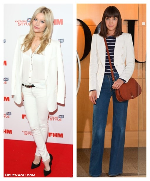 How to wear white blazer; black and white; wide leg jeans; white on white; On Laura Whitmore:Paul Joe white blazer, Joie white blouse, J Brand white distressed skinny jeans, Kurt Geiger black pointy toe pumps, Pandora rings,  Stella Dot Gitane Tassel Necklace, Stella Dot Soar Necklace;  On Vogue editors Esther Adams: white blazer, brown saddle crossbody bag, wide leg jeans,striped top,
