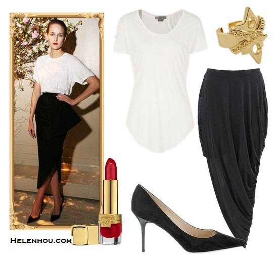 wardrobe staple: white t-shirt; Featured: asymmetric peplum skirt,pointy toe pump; Alternatives: HELMUT Helmut Lang Kinetic Jersey Scoop Neck Tee,  Bless'ed are the Meek Native Skirt,  Jimmy Choo 'Abel' Patent Leather Pump,  Jennifer Fisher Gold War Ring,  Estée Lauder lipstick,