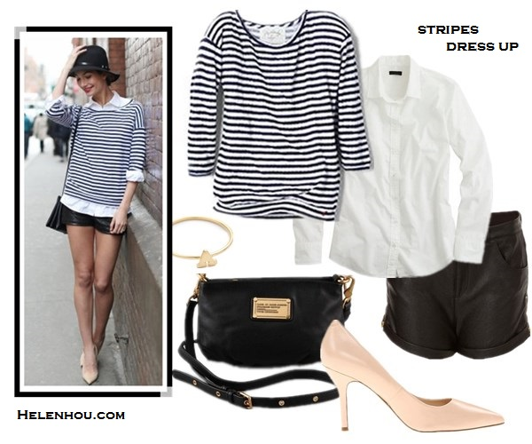 how to wear stripes, how to dress up stripes, how to wear leather shorts, striped top,  Alessandra Ambrosio, Lily Aldridge, CHLOÉ Triple strap sandal,Ella Moss Lila striped shirt in Royal,Gerard Darel Simple Bag cuir Melbourne in Orange,Westward Leading Mercury Seven sunglasses,distressed denim shorts, Lily Aldridge for velvet, striped top, white button down shirt, black leather shorts, nude pointy toe pumps, black fedora, black crossbody bag, dainty jewelry,summer outfit idea, denim shorts,  Velvet Lily Aldridge for Velvet Pearl Top,  J.CrewBoy shirt in classic white,  TOPSHOPZip Side Leather Look Shorts,  Marc by Marc Jacobs Classic Q Percy Bag ,  Nine West pink nude pump,   Jacquie Aiche Alphabet Letter Initial Waif Ring,  helenhou, helen hou, the art of accessorizing, accessoriseart, celebrity style, street style, lookbook, model off-duty,red carpet looks,red carpet looks for less, fashion, style, outfits, fashion guru, style guru, fashion stylist, what to wear, fashion expert, blogger, style blog, fashion blog,look of the day, celebrity look,celebrity outfit,designer shoes, designer cloth,designer handbag,