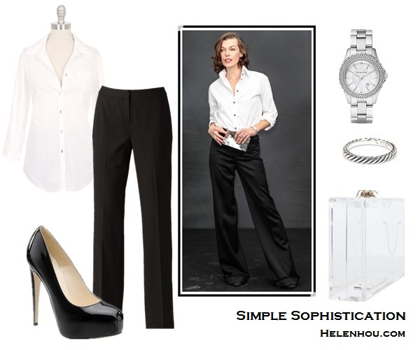 how to wear black and white; wardrobe staples; Alternatives: Elizabeth and James Jeweled Button Cohen Shirt in White, Lafayette 148 New York 'Menswear' Trousers,  Brian Atwood Maniac Patent Platform Pumps,  Charlotte Olympia Pandora Classic Clutch in Clear,  Michael Kors 'Small Madison' Twin Row Crystal Watch,  David Yurman Sterling Silver Cable Stackable Ring,