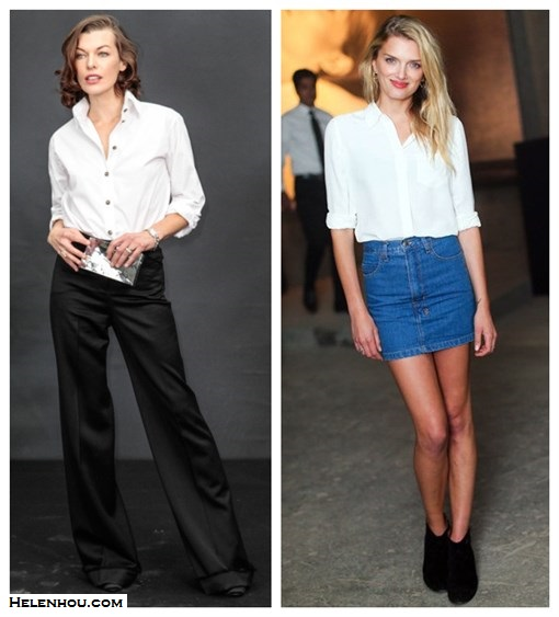 how to wear black and white, wardrobe staples, white button up shirt for every age