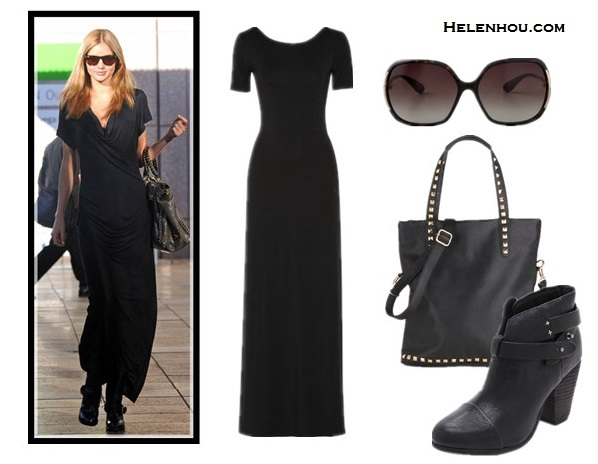 how to wear maxi dresses, what to wear with maxi skirt, Miranda Kerr, street style, Balenciaga quilted leather jacket,Celine tote, black maxi dress, studded bag, black leather booties, sunglasses, lace up booties, burgundy tote, denim jacket, colorful printed crossbody bag, dressy flip flop sandals, light weight summer scarf, beige scarf, python bag, snakeskin bag,  LnA Scoop Back Maxi Dress,  Rag & Bone Harrow ankle Booties ,  ModCloth Studded Session Bag,  Marc by Marc Jacobs oversized sunglasses,  helenhou, helen hou, the art of accessorizing, accessoriseart, celebrity style,   street style, lookbook, model off-duty,red carpet looks,red carpet looks for less,   fashion, style, outfits, fashion guru, style guru, fashion stylist, what to wear,   fashion expert, blogger, style blog, fashion blog,look of the day, celebrity   look,celebrity outfit,designer shoes, designer cloth,designer handbag,