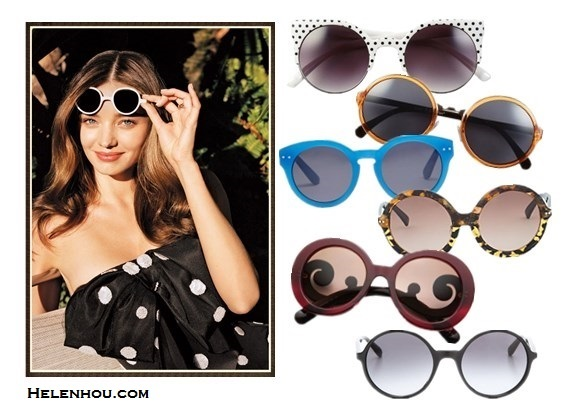 Retro round sunglasses on Miranda Kerr-by helen hou, the art of accessorizing, Alternative: Quay Retro Sunglasses,  A.J. Morgan 52mm Retro Round Sunglasses,  Madewell hepcat shades,  3.1 Phillip Lim Amber And Yellow Tortoiseshell Sunglasses,  Prada Baroque Round Sunglasses,  Marc by Marc Jacobs Oversized Round Sunglasses,