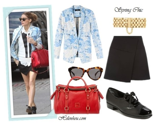 Olivia Palermo, Jessica Alba, how to wear printed blazer, spring jacket, printed jacket, Tibi Daisies printed blazer-black white sweater,plaid window panel printed shirt,  zara skort,Givenchy Lucrezia red Duffel  bag,black oxford, menswear shoes, Wunderkind sunglasses, gold bracelet, white v neck tee shirt, dark washed skinny jeans, white strappy sandals, bar necklace, purple leather bag,   New LookBlack Asymmetric Wrap Scuba Mini Skirt,  Dooney & Bourke - Florentine Vachetta Satchel ,  Munro 'Ascot' Oxford ,  Karen Walker The Number One cat eye Sunglasses,leopard cat eye Sunglasses  Reiss Alicia METAL CHAIN BRACELET , helenhou, helen hou, the art of accessorizing, accessoriseart, celebrity style, street style, lookbook, model off-duty,red carpet looks,red carpet looks for less, fashion, style, outfits, fashion guru, style guru, fashion stylist, what to wear, fashion expert, blogger, style blog, fashion blog,look of the day, celebrity look,celebrity outfit,designer shoes, designer cloth,designer handbag,
