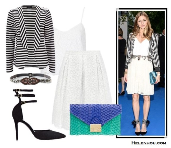 how to wear stripes, how to wear striped blazer, Olivia Palermo,blogger Zanita Morgan,10 Crosby Derek Lam Striped Surplice Blouse, MSGM Black White Stripe Silk Trousers ,CC SKYE Revolver Pendant Necklace,Toms Lobamba Tortoise Polarizeds sunglasses,mulberry lily crossbody bag,  Olivia Palermo-Zara striped jacket, Topshop white skirt,Tibi Ava Sequin Cami, Aquazzura ankle strap pump, Christian Dior blue bag,  Juicy CoutureAwning Stripe Jacket in Angel,  TOPSHOPLace Crop Cami,  WallisBlack And White Stripe Jacket,  Dorothy PerkinsWhite broderie midi skirt,  Loeffler Randall color block Lock crossbody bag,  Reiss Belle MULTI STRAP COURT SHOES ,  Anthropologie Beaded Medallion Stretch Belt,  helenhou, helen hou, the art of accessorizing, accessoriseart, celebrity style, street style, lookbook, model off-duty,red carpet looks,red carpet looks for less, fashion, style, outfits, fashion guru, style guru, fashion stylist, what to wear, fashion expert, blogger, style blog, fashion blog,look of the day, celebrity look,celebrity outfit,designer shoes, designer cloth,designer handbag,