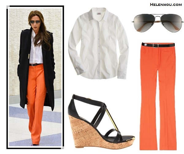 Victoria Beckham airport style wearing Victoria Beckham Collection coat and aviator sunglasses, orange pants, white shirt, Chloe sandal by helen hou, the art of accessorizing;Alternative: Jcrew stretch perfect shirt, DV by Dolce Vita Tremor platform sandal, Ray-Ban 'Original Aviator' 58mm Sunglasses,Lauren Ralph Lauren Reversible Croc Embossed Belt,VANESSA BRUNO Casual orange wide leg pants