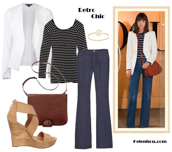 How to wear white blazer; wide leg jeans;  On Vogue editor Esther Adams: white blazer, brown saddle crossbody bag, wide leg jeans,striped top, Alternative: Theory 'Lanai' Twill white Jacket,  INTERMIX Bailey 44 EXCLUSIVE Striped Henley top,  MiH Marrakesh Kick Flare Jeans,  Diane Von Furstenberg platform sandal,   Fossil Vintage Revival Flap Portfolio Bag,  Jacquie Aiche Alphabet Letter Initial Waif Ring,