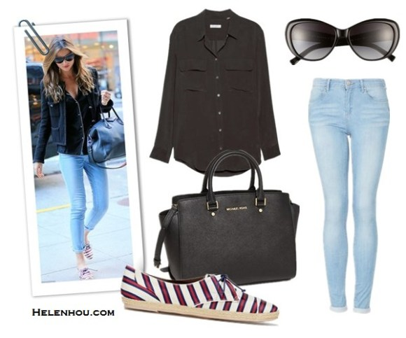 miranda kerr,kate moss, streets style, Chanel Braided Leather Trim Wool Jacket ,Givenchy Antigona Duffle,Frame Denim Le Skinny De Jeanne Mid-Rise Light-Blue Jeans,Chanel Limited Edition Pearl Sunglasses,Tabitha Simmons Tie-Striped Flat Espadrille Sneaker, Red/Navy, boyfriend ripped jeans,black blazer, black top, black leather lace up booties, black clutch,  Equipment Slim Signature Blouse, Topshop MOTO Bleach Leigh Jeans,  Tabitha Simmons Tie-Striped Flat Espadrille Sneaker,  MICHAEL Michael Kors 'Selma - Large' Leather Satchel,  Tory Burch 56mm Cat's Eye Sunglasses,  helenhou, helen hou, the art of accessorizing, accessoriseart, celebrity style, street style, lookbook, model off-duty,red carpet looks,red carpet looks for less, fashion, style, outfits, fashion guru, style guru, fashion stylist, what to wear, fashion expert, blogger, style blog, fashion blog,look of the day, celebrity look,celebrity outfit,designer shoes, designer cloth,designer handbag,