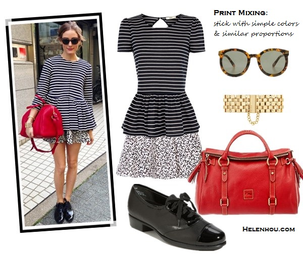 how to mix print, how to wear stripes, how to wear peplum, stripes and leopard, black and white with a pop of color, how to accessories black and white, Diane Kruger, Olivia Palermo,Tibi Horatio Striped peplum jacket, Zara animal PRINTED MINI SKIRT,Louis Vuitton Sofia Coppola red bag, black menswear oxford, leopard sunglasses, gold bracelet, preen stripe dress, red belt, chanel chain bag, yellow strappy sandal,  Oasis Stripe Peplum Top,  tibi Leona Denim Skirt,  Dooney & Bourke red bag, Munro oxford,  Karen Walker Super Duper Strength Sunglasses,  Reiss gold bracelet,    helenhou, helen hou, the art of accessorizing, accessoriseart, celebrity style, street style, lookbook, model off-duty,red carpet looks,red carpet looks for less, fashion, style, outfits, fashion guru, style guru, fashion stylist, what to wear, fashion expert, blogger, style blog, fashion blog,look of the day, celebrity look,celebrity outfit,designer shoes, designer cloth,designer handbag,