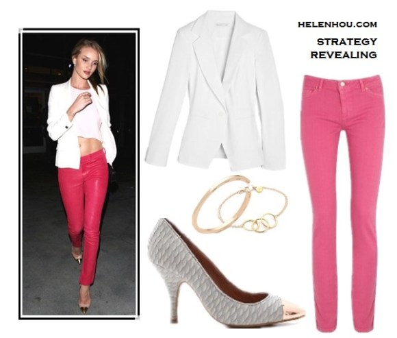 rosie-huntington-whiteley, Miranda Kerr, how to wear a white blazer, how to wear colored jeans, how to wear a pink blazer, how to wear wide leg jeans, Louis Vuitton sunglasses, Prada white bag, Stella Mccartney pink jacket, Alexander Wang Antonia nude strappy sandals, white tee, Christian Louboutin gold cap toe pumps, J Brand Carin mid-rise skinny-leg leather trousers, pink crop top,pink leather skinny,   Bop Basics The Fiance white Blazer ,  MICHAEL Michael Kors - Jewels Denim pink Colored Skinny Jean ,  Jeffrey Campbell Flava Cap Toe Pumps , House of Harlow 1960 Horseshoe Bangle,  Gorjana Viceroy Bracelet, helenhou, helen hou, the art of accessorizing, accessoriseart, celebrity style,   street style, lookbook, model off-duty,red carpet looks,red carpet looks for less,   fashion, style, outfits, fashion guru, style guru, fashion stylist, what to wear,   fashion expert, blogger, style blog, fashion blog,look of the day, celebrity   look,celebrity outfit,designer shoes, designer cloth,designer handbag,