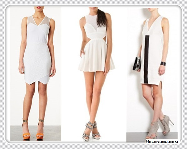 How to wear white dress; black and white trend; cut-out trend; featured: Topshop Lace Appliqué Dress with with asymmetrical hem,  Three Floor Adolescent Sister Dress with cut out,  Sportmax Himare Deep V-neck Knitted black and white Dress,