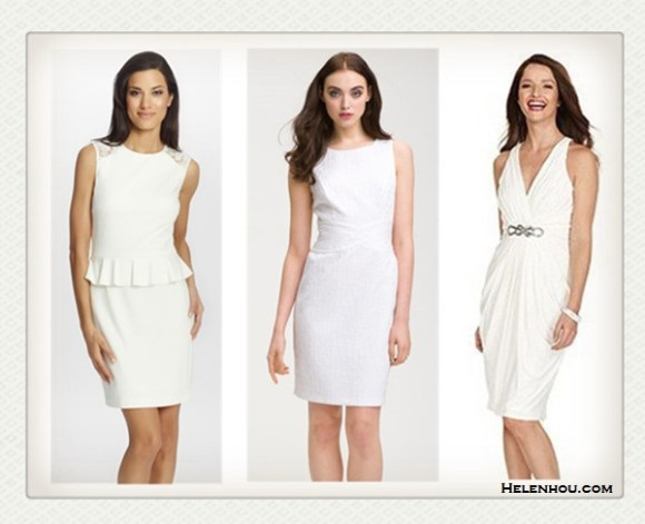 How to wear white dress; peplum trend;body-hugging dress; featured: Cynthia Steffe 'Brooke' Ponte Knit Peplum Dress,  Donna Ricco Jacquard Sheath Dress,  London Times Sleeveless Halter dress with waist embellishment