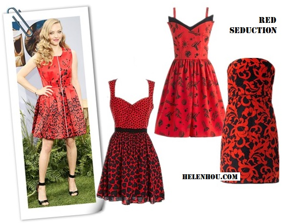 How to wear a red dress; strappy sandals; wedding guest outfit ideas;   On Amanda Seyfried:Givenchy High-Heel Ankle-Wrap Shark-Tooth Sandal; Preen red printed dress, Lorraine Schwartz jewelry Alternatives:  A.B.S. BY ALLEN SCHWARTZ Printed Sleeveless A-Line Dress,  ModCloth red printed Dress,  Diane Von Furstenberg Walker red and black printed dress