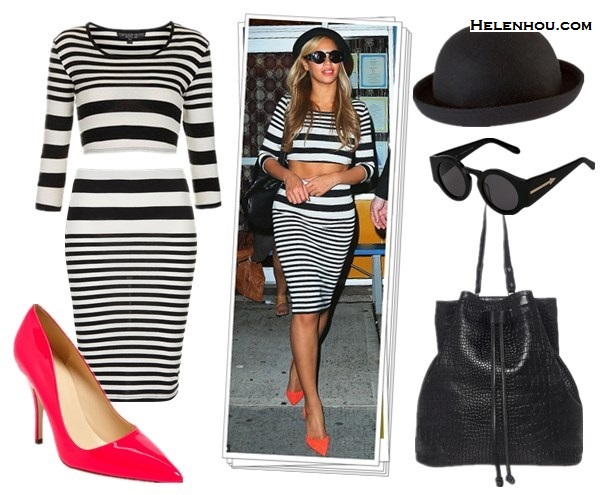 How to wear stripes with stripes; How to wear crop tops; How to wear sheer tops; Heidi Klum, Beyoncé Knowles; On Beyonce: Topshop stripe crop top,Topshop Stripe Tube Skirt,KURT GEIGERDASH RUCKSACk black leather backpack,KAREN WALKER 'Blue Moon' retro round sunglasses,bright orannge red pumps, black hat; Alternatives:   kate spade new york 'licorice too' pump,  ASOS Roll Brim Felt Boater Hat,
