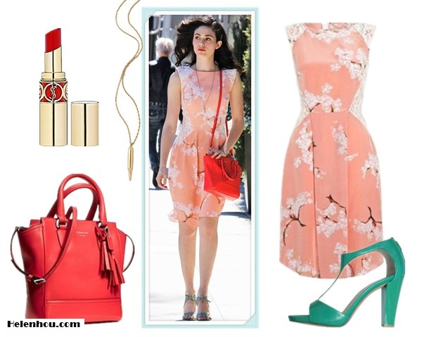 On Emmy Rossum: Tabitha Webb Exclusive Fashion Targets Breast Cancer Summer Blossom prink coral printed Dress, COACH 'Legacy Tanner - Mini' crossbody tote, blue gray sandal,  pendant necklace,bright red lip. also featured: BRUNO PREMI emerald green Sandals,  CC SKYE Revolver Pendant Necklace,  Yves Saint Laurent ROUGE VOLUPTÉ - Silky Sensual Radiant Lipstick SPF 15 ,