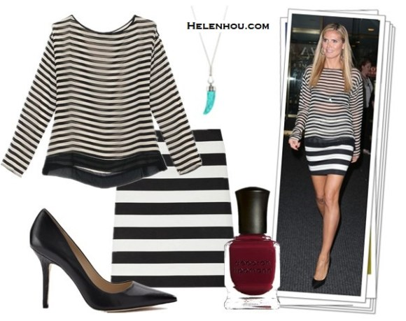 How to wear stripes with stripes; How to wear crop tops; How to wear sheer tops; Heidi Klum, Beyoncé Knowles; On Heidi Klum:Nili Lotan Silk Stripe sheer blouse,Robert Rodriguez stripe skirt ,Christian Louboutin black pump, blue Turquoise shark tooth necklace,hoop earrings. Alternatives:   Charles by Charles David Charles David 'Sway' black pointy toe leathe Pump,  Michael Kors 'Status Link' Long Pendant Necklace ,  Deborah Lippmann Nail Color,