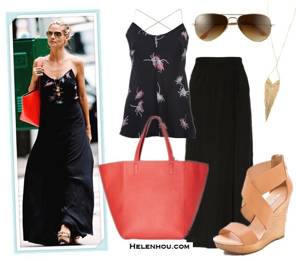 How to wear maxi skirts; street style; Miranda Kerr,Heidi Klum; grey tank top, printed maxi skirt, straw hat, printed cami, black maxi skirt, red tote, wedge sandal,   On Heidi Klum: Vince Camuto Coco red Tote; Holmes & Yang Printed cami;Lanvin wedge sandal, aviator mirror sunglasses, black maxi skirt; Alternatives:  HOLMES & YANG Printed cami,  Splendid Maxi Tube Skirt / Dress, Diane von Furstenberg Opal Wedge Sandals,  Vince Camuto red Coco Tote,  Ray ban 'Original Aviator' 58mm Sunglasses,  Jules Smith Coachella Necklace,