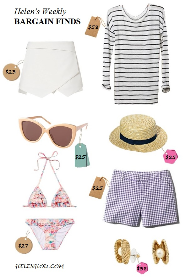 summer essentials; Bargain Finds;  Featured:    She Inside White Asymmetrical Geometric Pockets Shorts/skort,   C. Wonder Seashell Pearl Stud Earrings,  ASOS (US)ASOS Straw Boater hat,  Anthropologie Slim Striped Linen Pullover,   MORGANASOS (US)AJ Morgan Cateye Sunglasses,   ASOS Water Colour Floral Multi Ruffle Triangle Bikini ,  Caslon clean Front plain check gingham Shorts,
