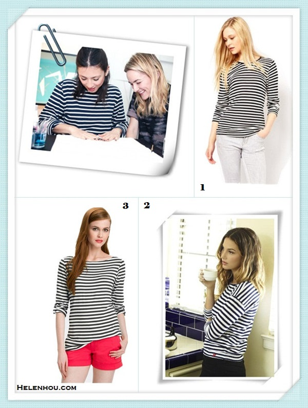 how to wear a striped sweater/top,how to dress up a casual shirt/sweater;Michele Hicks, Jenna Lyons,  Jen Brill,Jennifer Meyer,party outfits,casual attire. On  Jen Brill: long sleeve striped shirt Alternatives:  French ConnectionTruro Stripe Top,  Velvet Lily Aldridge for Velvet Pearl Top,  Bobeau Stripe Roll Sleeve Top,