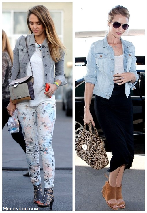 Style denim jacket; how to wear floral printed pants; how to wear midi skirt; street style, airport style;  On Jessica Alba: Jewels By Dunn bracelets,TEXTILE Elizabeth and James Floral Watercolor OZZY Jeans, grey denim jacket, white tee, grey strappy sandal, colorblock crossbody bag;   On Rosie Huntington-Whiteley: Burberry aviator sunglasses, J Brand light washed denim jacket, Mulberry Black Del Rey Soft Spongy Bag in leopard, IRO Oxnard suede ankle cuff sandal,Jacquie aiche Pave Leaf Cuff, black midi skirt.