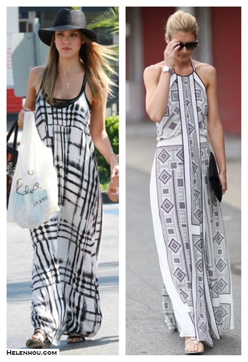how to wear maxi dresses; black and white trend; monochrome look;  On Jessica Alba:Sam & Lavi plaid maxi dress, Simone Camille bag,  Jennifer Meyer Personalized Nameplate gold necklace, black fedora, black sandal. On street style:halter neck dress, white sandal, black clutch