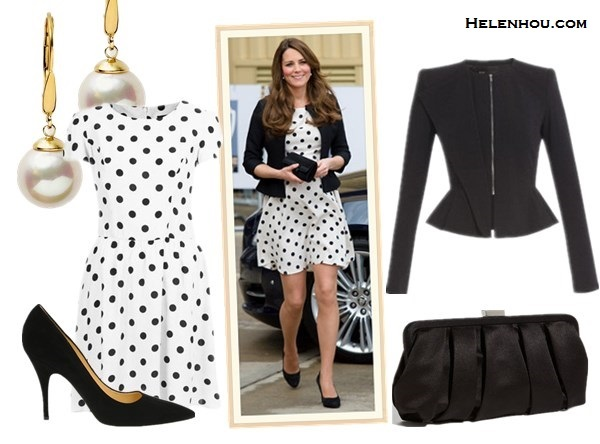 What to Wear During Pregnancy; Kate Middleton maternity/pregnancy style; Maternity dresses; Maternity jeans. On Kate Middleton: Topshop black and white Polka Dot Dress,Ralph Lauren black jacket, peal earrings, black suede pumps, black clutch; Alternatives: BCBGMAXAZRI AEdward Peplum Jacket,   Kate Spade New York Black Suede pumps,  Nina Pleated Satin Clutch Black,  Majorica 10MM White Pearl Drop Earrings,