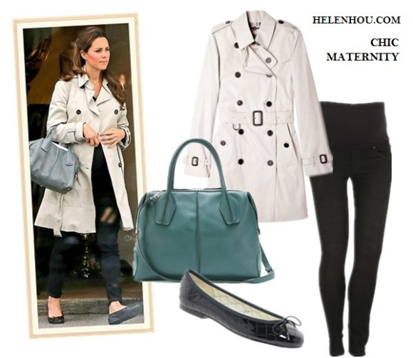 What to Wear During Pregnancy; Kate Middleton maternity/pregnancy style; Maternity dresses; Maternity jeans. On Kate Middleton:trench coat, black maternity jeans, French Sole Henrietta Patent Quilted Ballet Flats,Tod's 'D-Styling' Leather Satchel. Alternatives: Burberry Brit Stone Cotton Trench Coat,  James Jeans Maternity Twiggy Legging Jeans,   Marc by Marc Jacobs - Classic Q Baby Groovee,