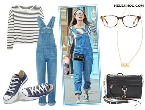 Four Stylish Ways To Wear Overalls;How to wear a cropped top; How to wear bomber jackt; How to wear stripes;  On Keira Knightley: Converse Chuck Taylor All Star Lo Top   Sneakers;  Citizens of Humanity Quincey denim Overalls,striped shirt, gold necklace, chanel quilted crossbody bag, glasses, Alternatives:  N.Peal Cashmere Striped cashmere sweater,  Citizens of Humanity Quincey Overalls,  Convers Chuck Taylor® Low Sneaker,  Rebecca Minkoff Mini MAC crossbody  Bag ,  Marc by Marc Jacobs Sweetie Rings Necklace,  Warby Parker Ainsworth Eyeglasses - Walnut Tortoise,