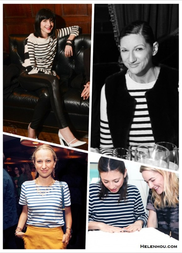 how to wear a striped sweater/top,how to dress up a casual shirt/sweater;Michele Hicks, Jenna Lyons,  Jen Brill,Jennifer Meyer,party outfits,casual attire.  On Michele Hicks:striped sweater/shirt, black leather pants, Marc JacobsGlossed-leather Mary Jane pumps;  On Jenna Lyons: Vince 'Linked' Stripe Cashmere Sweater, vest;  On Jennifer Meyer: blue and white striped tee,yellow denim skirt, navy leather crossbody bag, statement necklace, drop earrings,  On  Jen Brill: long sleeve striped shirt