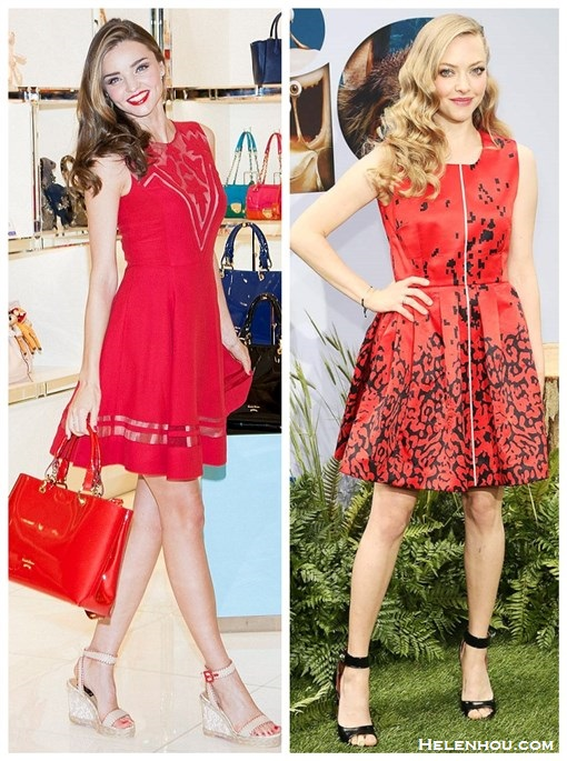 How to wear a red dress; strappy sandals; wedding guest outfit ideas; On Miranda Kerr: Jill Stuart red dress, Barbara ankle strap wedge sandals, Stonehenge jewelry, Samantha Thavasa red tote; On Amanda Seyfried:Givenchy High-Heel Ankle-Wrap Shark-Tooth Sandal; Preen red printed dress, Lorraine Schwartz jewelry