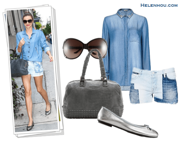 How to style denim/chambray shirt; How to wear distressed jeans or printed denim shorts; Street style;    On Miranda Kerr: Scanlan & Theodore denim/chambray shirt,  Isabel Marant denim shorts, Pretty Ballerinas silver metallic ballet flats, Balmain X Aurélie Bidermann suede grey bag, Linda Farrow oversized sunglasses, red nail and lip  Alternatives: Mango crystal embellished denim shirt,  Maison Scotch Marie Patchwork Short at Free People ,  Ralph Lauren Amarissa metallic Leather Ballet Flat,  LiebeskindLioba Stainy suede Studs Bag,  Gucci Oversized Sunglasses,