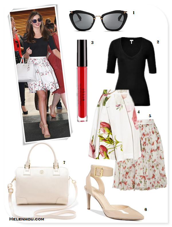how to wear a floral skirt, how to wear see through clothes;Liu Wen, Miranda Kerr,party look, street style, On Miranda Kerr: Alexander Wang Liya Leather Ankle Strap Pumps, Miu Miu Catwalk Sunglasses, Christian Dior floral printed skirt, Prada white leather bag, Bvlgari watch and ring.    Alternatives:  Splendid Deep V Half Sleeve Tee,  Stila Stay All Day® Liquid Lipstick,  Vivienne Westwood Anglomania Liberty floral-print cotton skirt,  D&G Cherry-print crinkled silk-chiffon skirt,  Nine West Callen nude ankle strap Pumps,  Tory Burch Robinson Middy white Satchel .