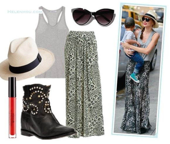 How to wear maxi skirts; street style; Miranda Kerr,Heidi Klum; grey tank top, printed maxi skirt, straw hat, printed cami, black maxi skirt, red tote, wedge sandal, On Miranda Kerr: Stella McCartney oversized cat eye sunglasses, Isabel Marant The Caleen studded leather concealed wedge boot, Isabel Marant Vicky Tank,  Straw Fedora. Alternatives: T by Alexander WangClassic Tank with Pocket,  Rebecca Taylor Leopard-Print Maxi Skirt,  Isabel Marant The Caleen studded leather concea, (remember these two outfits?)  J.Crew Panama straw fedora hat,  Urban Outfitters UO Oversized Cat-Eye Sunglasses,  Stila 'true red' lipstick,