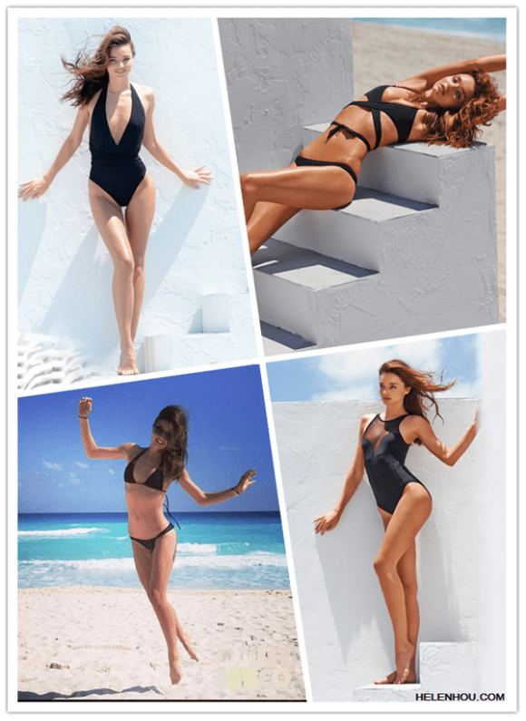 2013 swimwear trend; hottest swimsuit; On Miranda Kerr: Mara Hoffman Medicine Wheel plunge halterneck swimsuit ;triangle two piece bikini; SHIMMI Stevie triangle wrap bikini; Beth Richards Faye mesh-paneled swimsuit