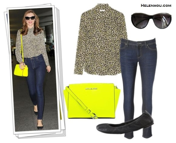 how to wear printed shirts;how to wear bright colored handbags;Heidi Klum,Miranda Kerr; street style;floral printed blouse, black skinny jeans, black pump, yellow bag, leopard printed shirt, blue skinny jeans, black ballet flats, yellow crossbody bag, oversized cat eye sunglasses.   On Miranda Kerr: Equipment Brett Silk Shirt in Bright Leopard Print, Nobody blue skinny jeans, Givenchy ballet flats, MICHAEL Michael Kors Selma Messenger yellow crossbody bag, Chanel oversized cat eye sunglasses, Alternatives:   DL1961 Emma Legging Jeans,   Tory Burch Eddie Ballet Flats,  CHANEL  BLACK WITH SILVER EDGING sunglasses