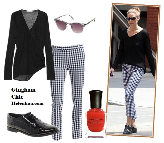 The art of accessorizing-helenhou.com-Olivia Palermo  Banana Republic Gingham Crop pants, black sweater,oxford.