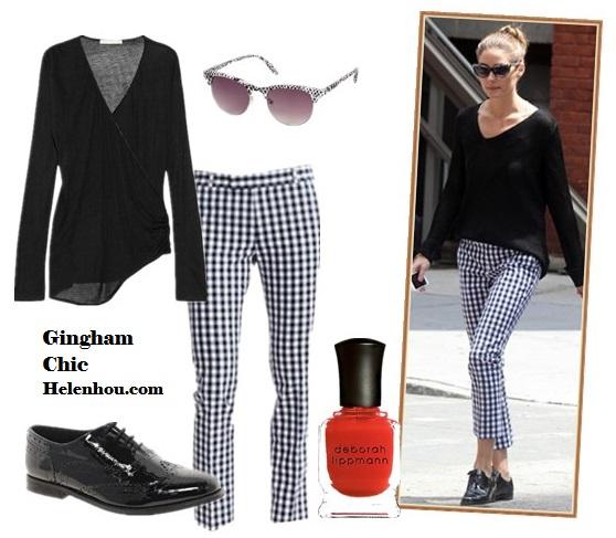 The art of accessorizing-helenhou.com-Olivia Palermo  Banana Republic Gingham Crop pants, black sweater,oxford.