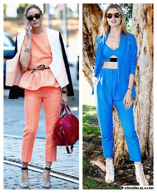 how to Wear Head-To-Toe Color; how to wear bright colored suits; how to wear a cropped top;  On Olivia Palermo: Diane von Furstenberg Feriha Colorblock Jacket,Louis Vuitton red bag, MSGM pink coral peplum top and pants, Tibi ankle strap colorblock Amber Heel,leopard belt, gold bracelet; On Candice Lake: bright blue suit, blue bustier, white lace up peep toe heel, gold finger ring set, red retro round sunglasses,