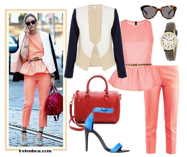 how to Wear Head-To-Toe Color; how to wear bright colored suits; how to wear a cropped top;  On Olivia Palermo: Diane von Furstenberg Feriha Colorblock Jacket,Louis Vuitton red bag, MSGM pink coral peplum top and pants, Tibi ankle strap colorblock Amber Heel,leopard belt, gold bracelet; Other alternatives:  Clare Vivier Escale Bag,  BARNEYS NEW YORK Skinny leopard belt,  Timex® 'Easy Reader' brown Leather Strap Watch,  Karen Walker the number one leopard sunglasses,