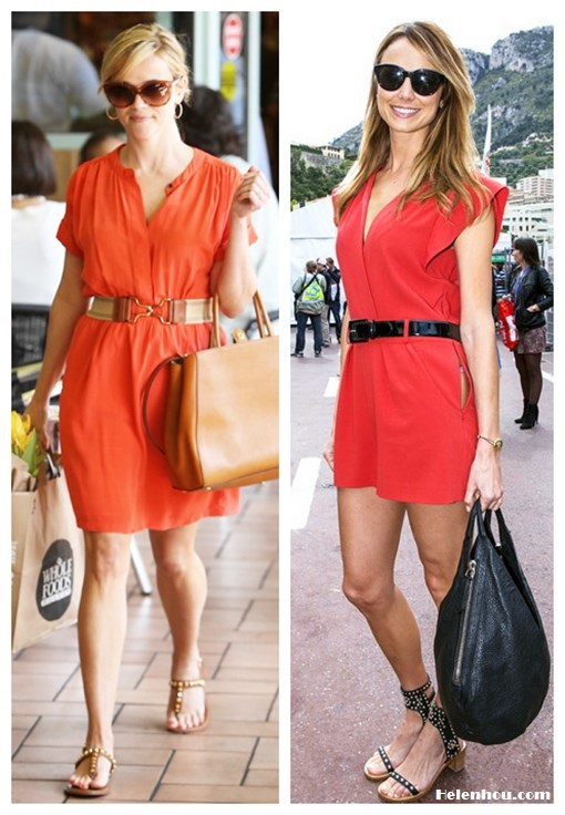 Outfits for every occasion; How to wear bright red/orange dress; what to wear to summer parties; studded sandals;  On Reese Witherspoon:Fendi 2Jours Calfskin brown Tote Bag, Vanessa Bruno orange dress, Dita sunglasses, brown t strap studded flat sandal, elastic colorblock buckle belt; On Stacy Keibler: Alice by Temperley red romper, Isabel Marant Charlotte Strassed and Studded Sandals in Black, black patent leather belt, black hobo bag, black sunglasses, gold bracelet.