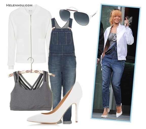 Four Stylish Ways To Wear Overalls;How to wear a cropped top; How to wear bomber jackt; How to wear stripes;  On Rihanna: BIG STAR 1974 Heather Overall in Denim,white bomber jacket, grey cropped top, white round sunglasses, white pump, Alternatives: Reiss Matt KNITTED BOMBER WITH WHITE PRINTED TRIMS,  FREE PEOPLE Criss Cross Sports Bra ,  TOPSHOPMOTO Full Length Dungaree,  TOPSHOPG WENDA white Pointed Court pumps,  Gucci White Aviator Sunglasses,