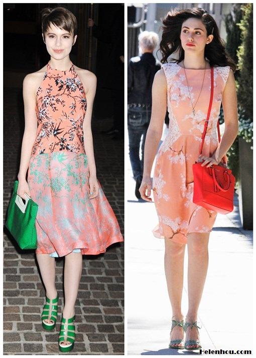 how to wear pink/coral floral printed dress; what to wear to a wedding;  On Sami Gayle at The New York Premiere of The Host:Nanette Lepore Sound Art Silk coral and pink printed Dress, Nanette Lepore - Tilt-A-Whirl green Clutch, green strappy sandal; On Emmy Rossum: Tabitha Webb Exclusive Fashion Targets Breast Cancer Summer Blossom prink coral printed Dress, COACH 'Legacy Tanner - Mini' crossbody tote, blue gray sandal,  pendant necklace,bright red lip.