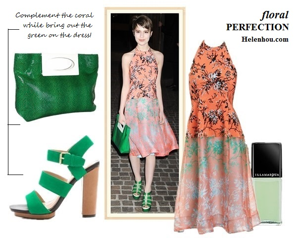 how to wear pink/coral floral printed dress; what to wear to a wedding;  On Sami Gayle at The New York Premiere of The Host:Nanette Lepore Sound Art Silk coral and pink printed Dress, Nanette Lepore - Tilt-A-Whirl green Clutch, green strappy sandal; Also featured: Dolce VitaFanta Triple Band Sandals,   SephoraIllamasqua Nail Varnish 'bright mint',
