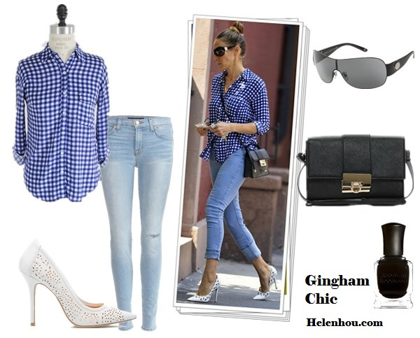 "How to wear gingham; Sarah Jessica Parker; Olivia Palermo; Street style;  On Sarah Jessica Parker: Splendid Gingham Button Down Blouse, MiH skinny jeans, jimmy Choo rebel crossbody bag, Jean-Michel Cazabat ""Elba"" white cut out pump, Ray ban Shield sunglasses; Alternatives: J Brand '811' Skinny Stretch Jeans,  Shoedazzle white cut out pumps,  Asos Across Body Bag With Clean Lock,  Shield sunglasses VERSACEVERSACE VE2101,  Deborah Lippmann Nail Color 'Fade To Black',"