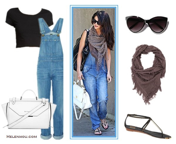 Four Stylish Ways To Wear Overalls;How to wear a cropped top; How to wear bomber jackt; How to wear stripes;  On Selena Gomez: Dolce&Gabbana 'Miss Sicily' Top Handle Leather Satchel,  BDG scarf,Cocobelle strappy sandal,denim overall, black sunglasses. Alternatives:  Express SHORT SLEEVE CROPPED TEE,  Citizens of Humanity Quincey Overalls,  DV by Dolce Vita Archer stap sandal,  BCBGenerationRunway Rivingston Satchel With Bar,  Deena & Ozzy Shredded Square Scarf,  Urban Outfitters UO Oversized Cat-Eye Sunglasses: Black One Size Womens Sunglasses,