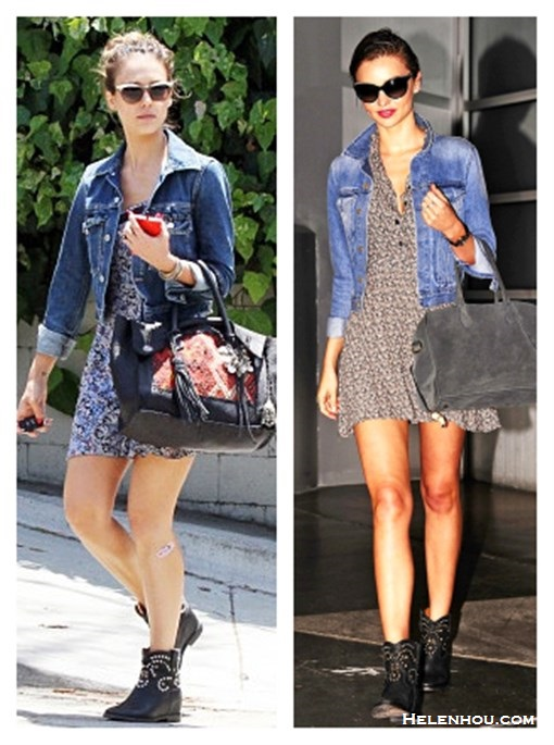 chic denim jacket outfits; how to style a floral dress; how to wear studded ankle boots; street style; What To Wear To A Music Festival; Travel Outfits ideas;  On Jessica Alba:blue denim jacket, Heartloom floral printed dress,Isabel Marant boots, Simone Camille bag, white top brow cat eye sunglasses;  On Miranda Kerr: G-Star denim jacket,printed sundress,  Isabel Marant boots, Bulgari watch, Chanel oversized sunglasses, Balmain grey bag;